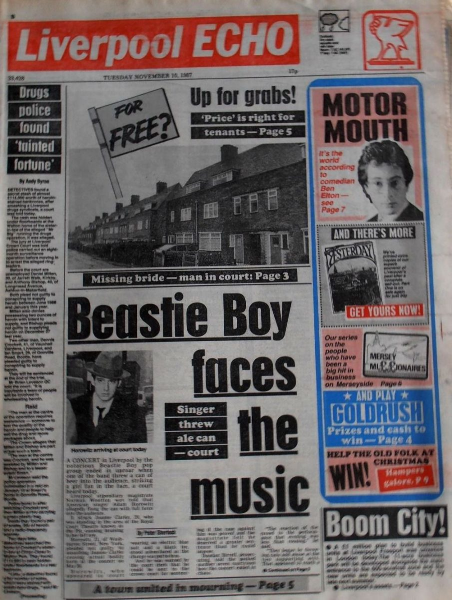 The front page of the Liverpool ECHO following the Beastie Boys' gig
