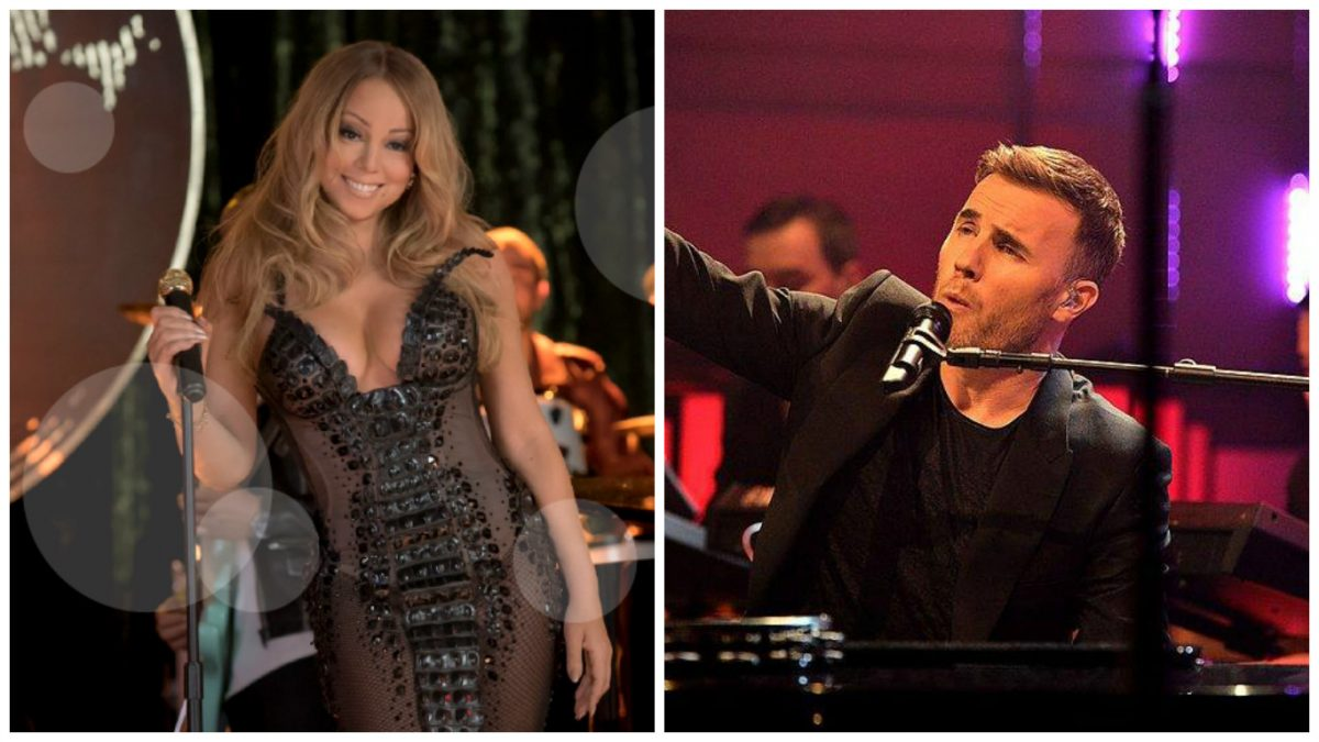 L-R: Jim Carrey and Ken Barlow (images from Mariah Carey and Gary Barlow's Facebook pages)