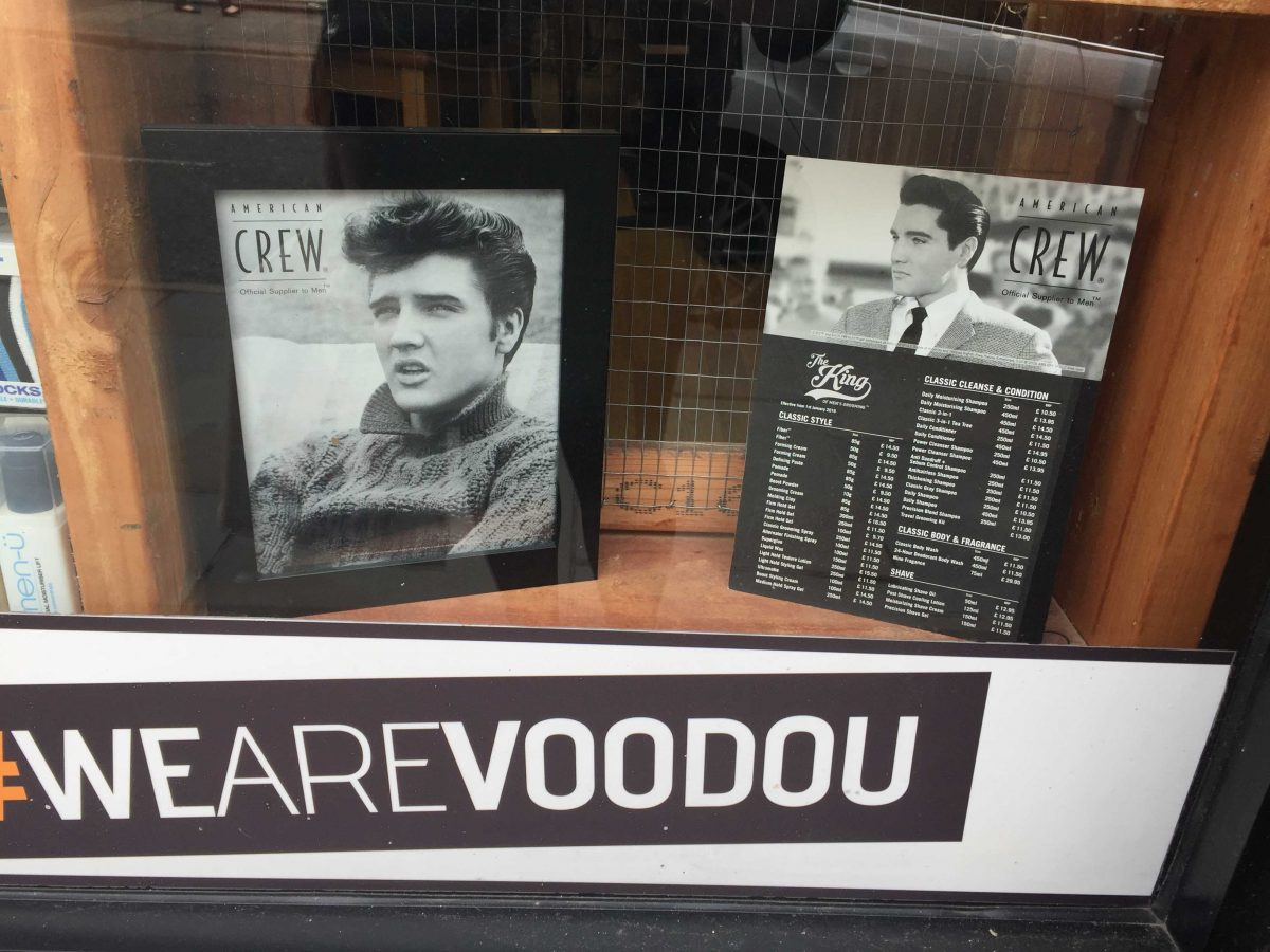 American Crew Elvis themed hair products at Voodoo in liverpool (Phtoto credit: Lucy Mclachlan)