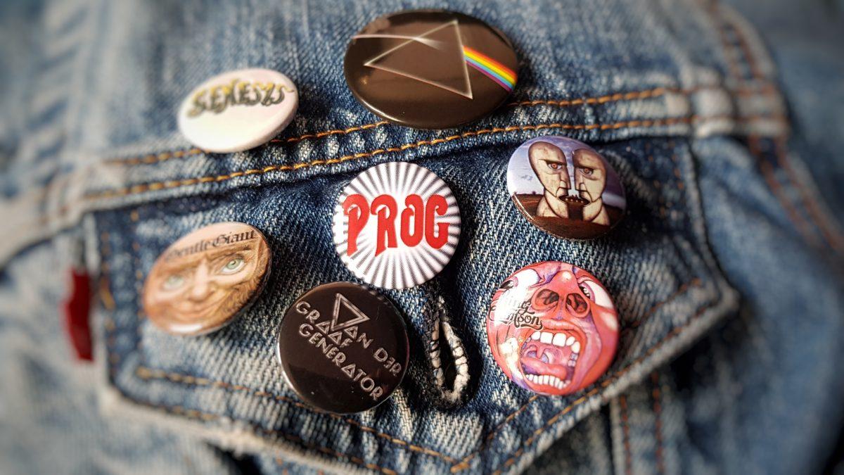 prog rock badges on denim jacket