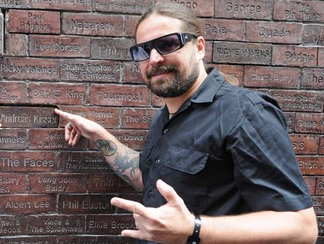 Andreas Kisser from Brazilian Metal band Sepultura gets his name on the Mathew street Wall of fame.jpg