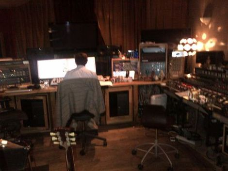 Hillsborough charity single Guy Chambers' studio.jpg
