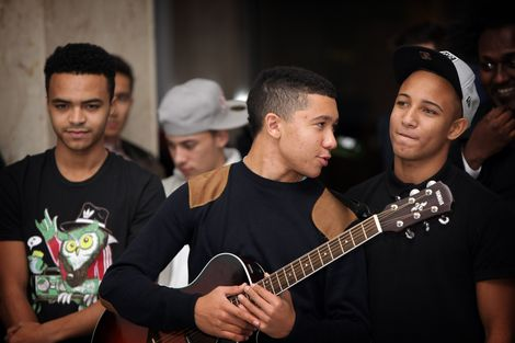 MicLowry prepare for their set at the GIT Award 2013 launch.jpg