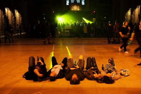 lying down in cathedral