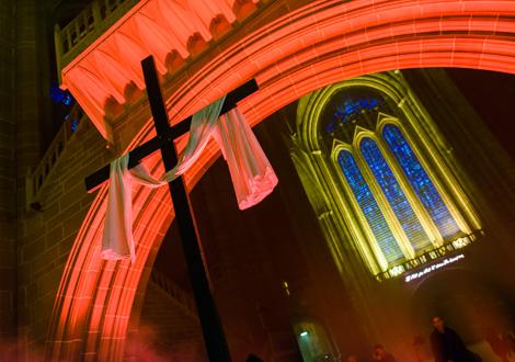 light night cross and window