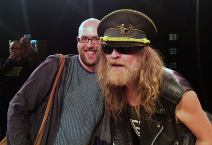 Julian Cope with Getintothis contributor Alistair Hoiughton