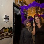 Frankie Panchoo and Jo Shelbourne outside the Kaz with Mello's logo