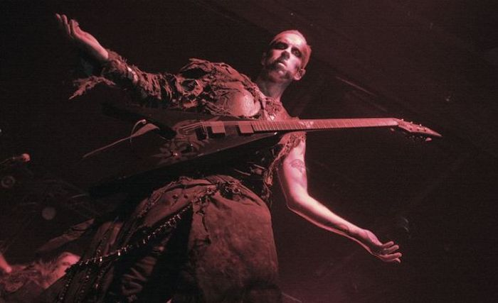 Behemoth's Nergal getting into the Christmas spirit. Presumably. [Credit: Bruno Bergamini]