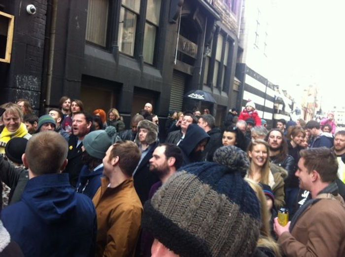 The crowds of protesters at the Lomax