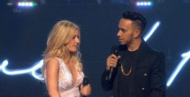 Ellie Goulding & Lewis Hamilton attempting comedy during 2 and 1/2 laugh-free hours