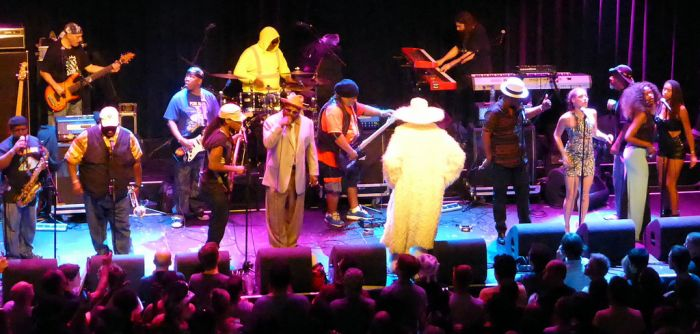 George Clinton and some of his huge band of funkateers