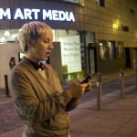Artist Erica Scourti outside FACT: LightNight 2015