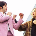 Lennon & McCartney...dressed in fur and a horrible pink suit