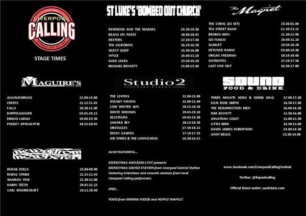 Liverpool Calling set times for the various venues