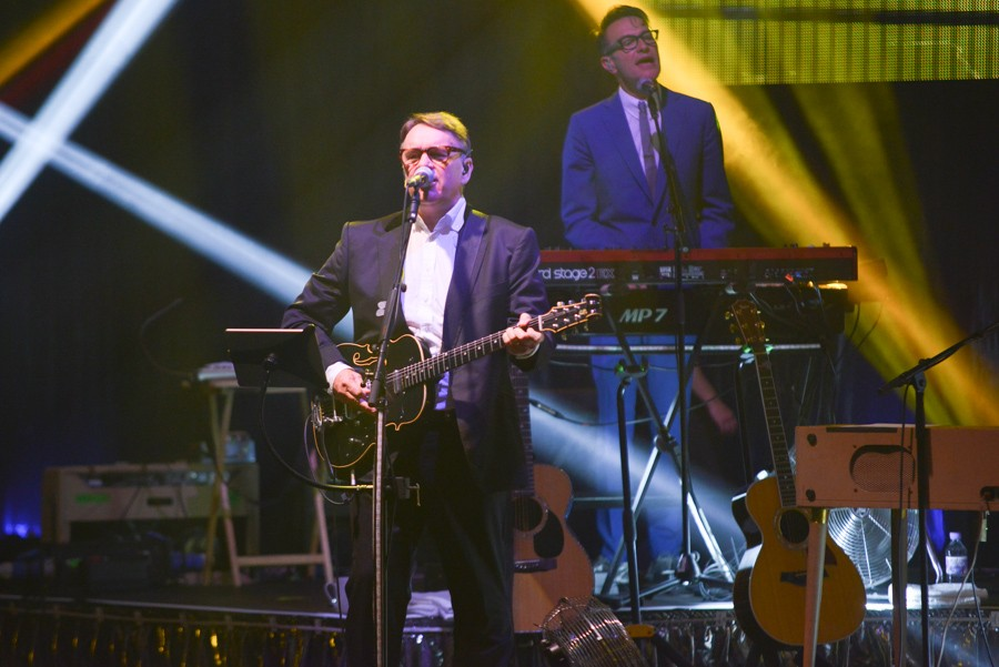 Sodajerker on Songwriting guest Chris Difford of Squeeze playing at Liverpool Philharmonic. Pic by John Johnson.