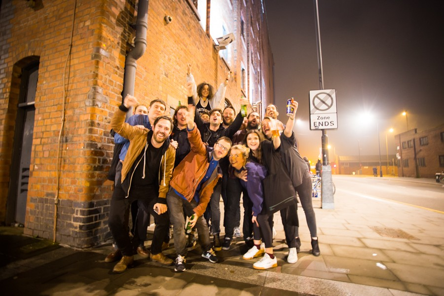 Liverpool Music Week 2015 - the team, musicians and supporters outside Camp & Furnace
