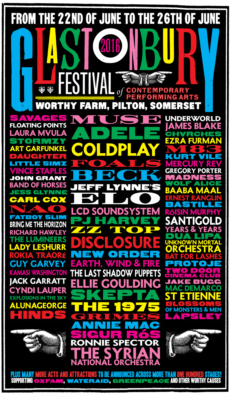 Glastonbury 2016 Line Up