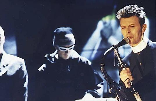 David Bowie performing at the Brit Awards 1996