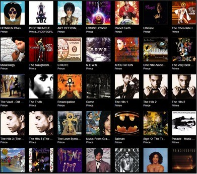 Prince's discography on Tidal - amazingly still incomplete