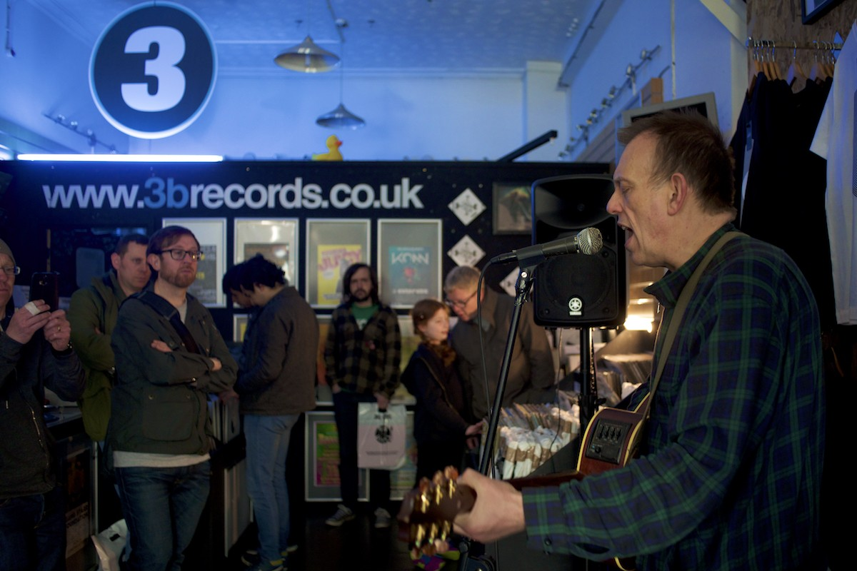 Inspiral Carpets' Tom Hingley performs at 3B Records at Record Store Day 2016
